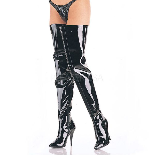 Crotch Overknee Stiefel SEDUCE-4010 Lack schwarz